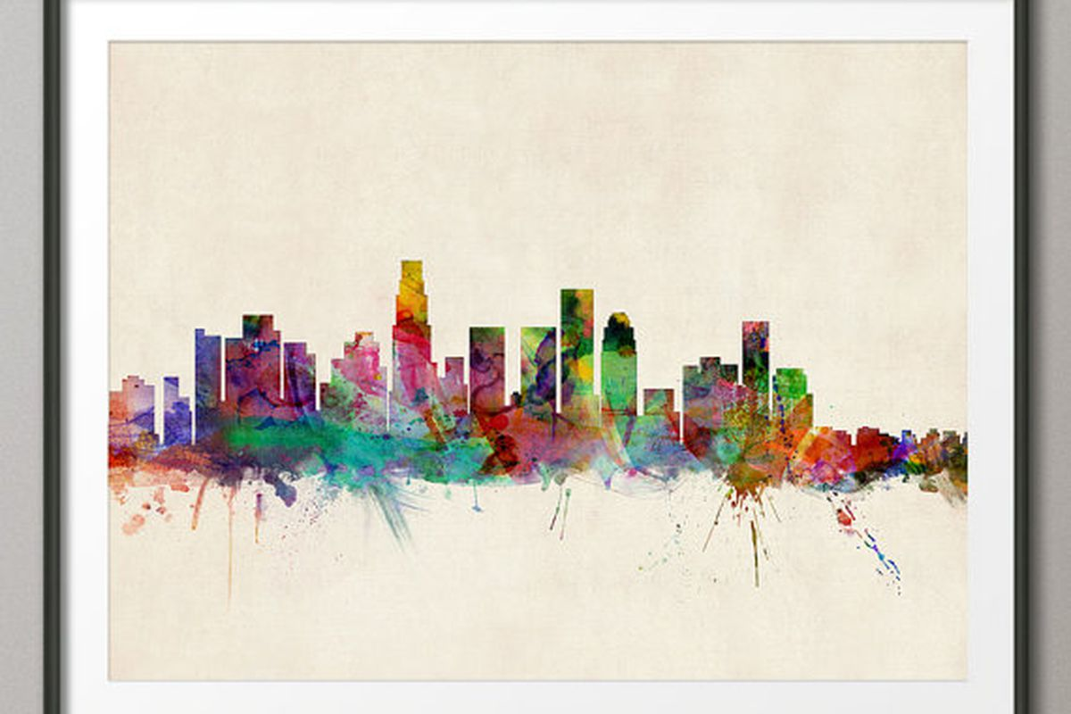 """artPause print, from <a href=""""https://www.etsy.com/listing/157826705/los-angeles-skyline-art-print-12x16-up"""">$22.42</a> at Etsy.com"""