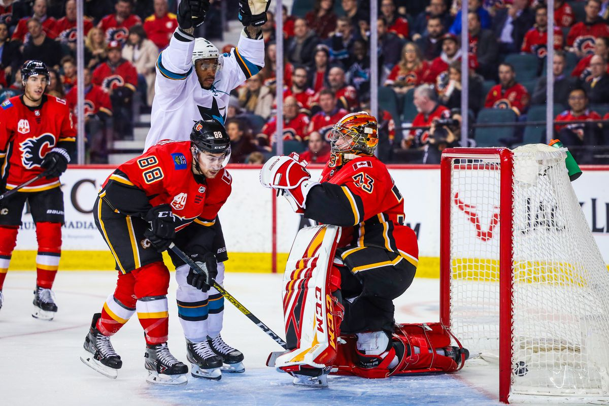 Feb 4, 2020; Calgary, Alberta, CAN; Calgary Flames goaltender David Rittich (33) reacts as San Jose Sharks left wing Evander Kane (9) scores a goal during the second period at Scotiabank Saddledome.