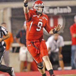 Utah Utes quarterback Jon Hays (9)during the first half as the University of Utah and BYU play football Saturday, Sept. 15, 2012, in Salt Lake City, Utah.