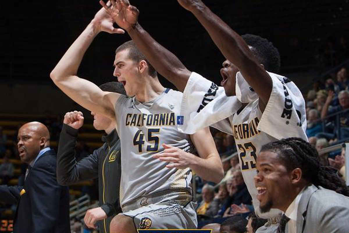 The Cal bench celebrates their second win of the season.