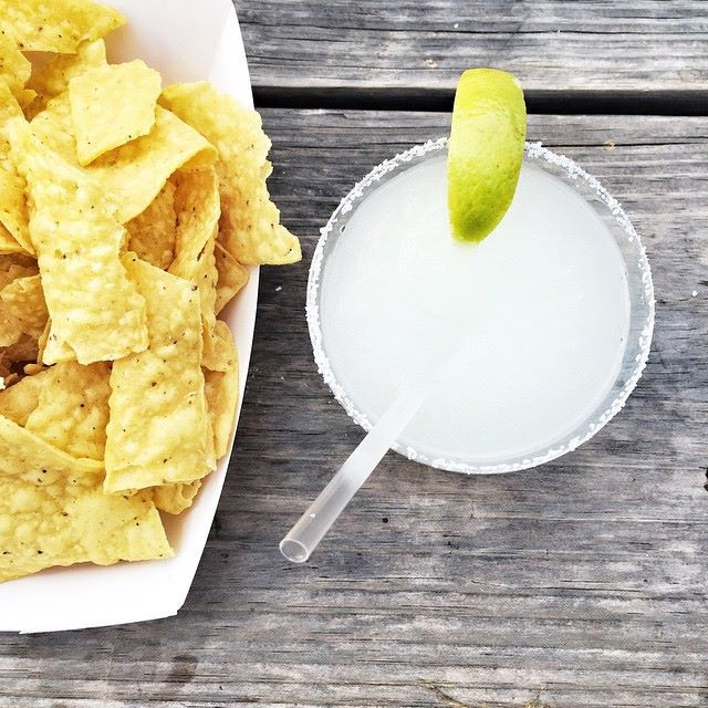 Margarita and chips from Guero's