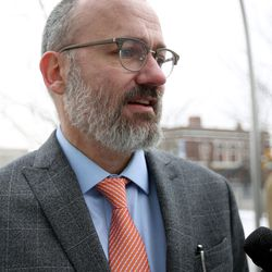 Stewart Gollan, an attorney with the Pioneer Justice Center, talks to the media outside the federal courthouse in Salt Lake City on Wednesday, Feb. 1, 2017. Gollan is representing Kathleen Janis,  a ninth-grade student at Central Davis Junior High, who is suing the Davis School District because she isn't allowed to participate in her school's wrestling program.