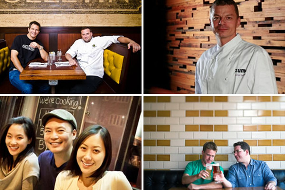 Clockwise, from top left: Perry Smith and Eric Brannon (Ted's Bulletin, DC), Rainer Becker (Zuma, Miami), Brendan Spiro and Seth Johnson (Vandaag, NYC), and Vicki, Edward, and Jennifer Kim (Ruxbin, Chicago)
