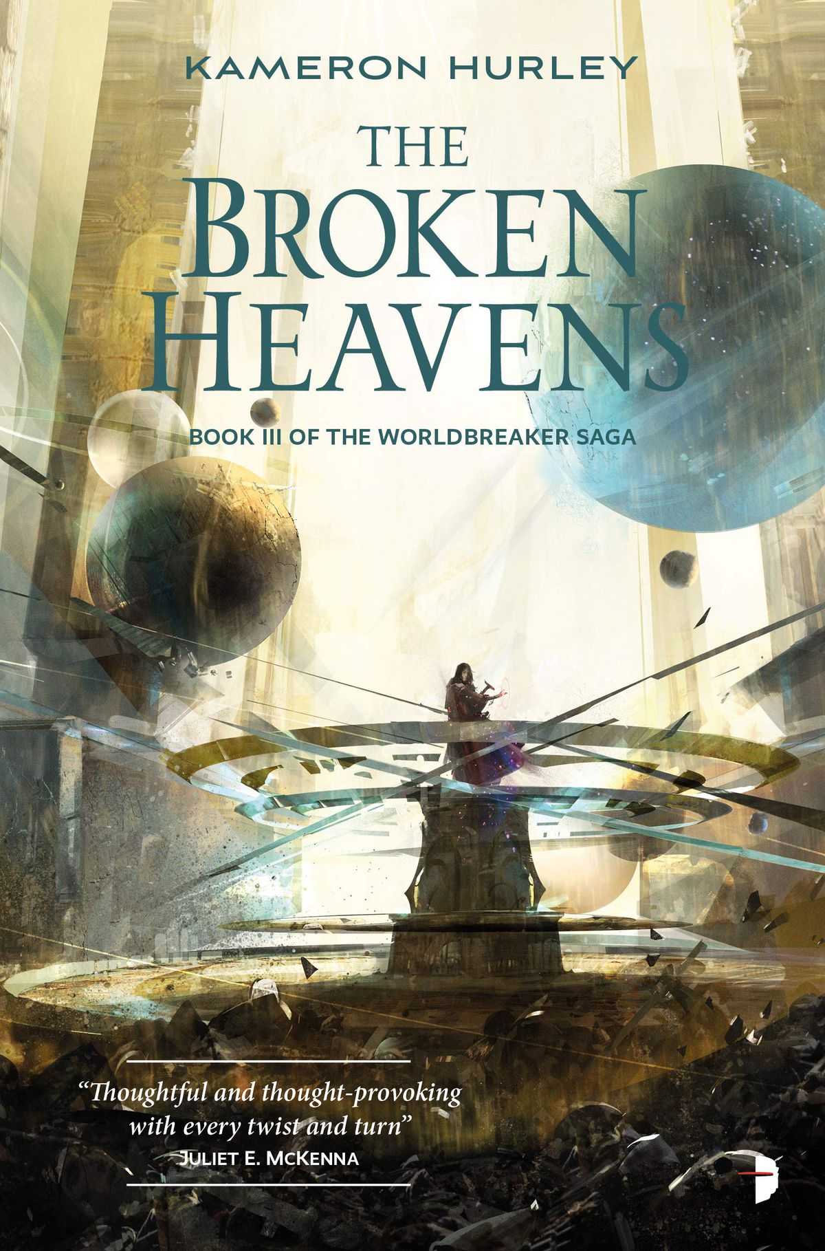 the broken heavens cover has planets swirling around a gyroscope