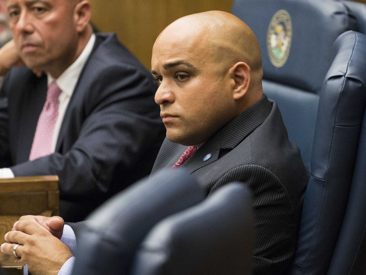 Commissioner Luis Arroyo Jr. during a Cook County Board meeting on July 15, 2015.