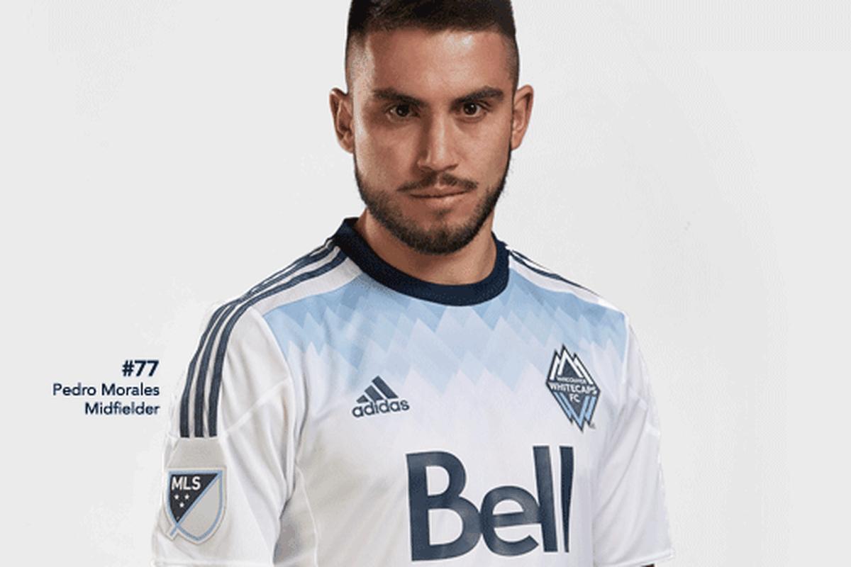 Whitecaps captain Pedro Morales sporting the new Vancouver home kit