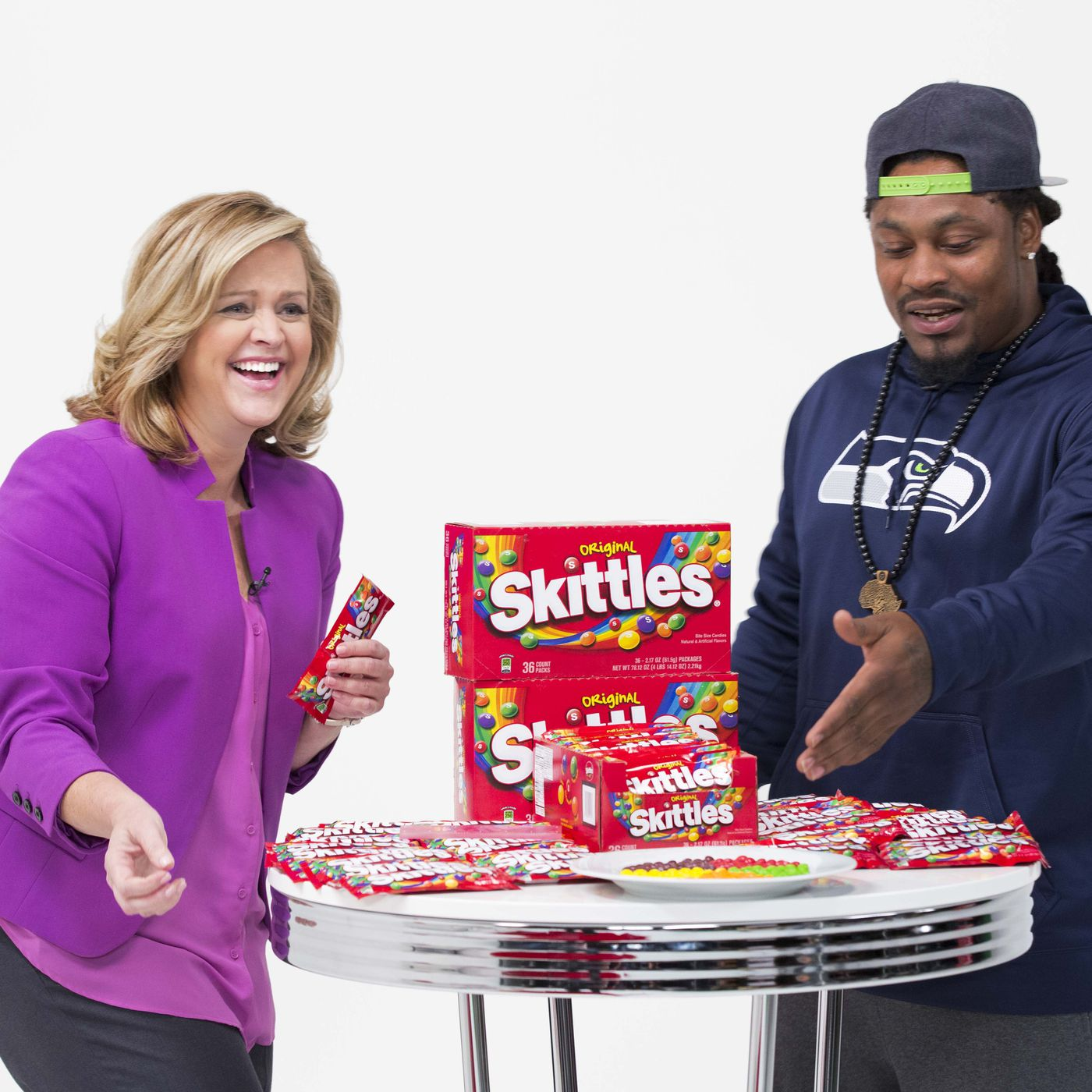 Marshawn Lynch's live appearance talking Skittles on EVINE