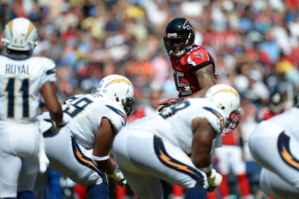 Sep 22, 2012; San Diego, CA, USA; Atlanta Falcons defensive end John Abraham (55) looks across the line during the second quarter against the San Diego Chargers at Qualcomm Stadium. Mandatory Credit: Jake Roth-US PRESSWIRE