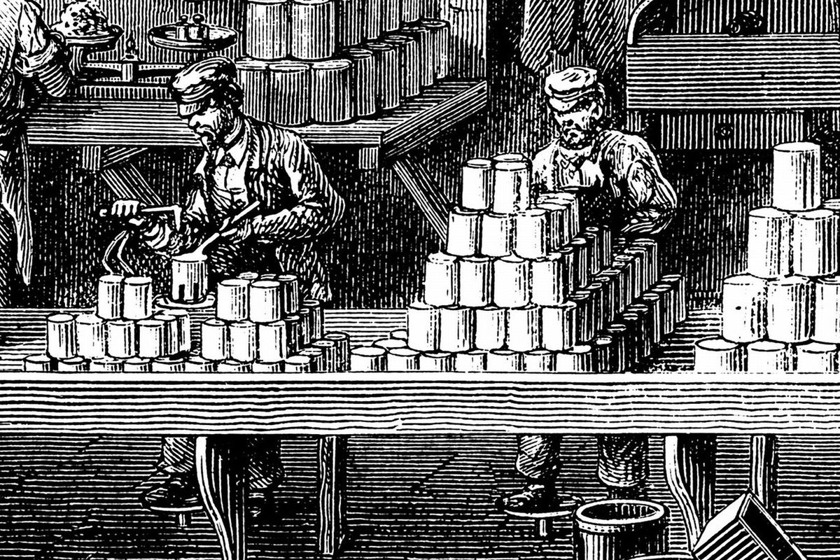 Tin cans being filled in the 1870s.