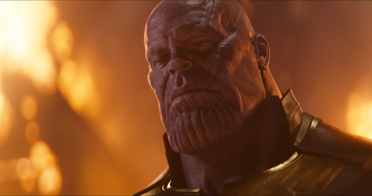 Avengers: Infinity War - close-up of Thanos looking down