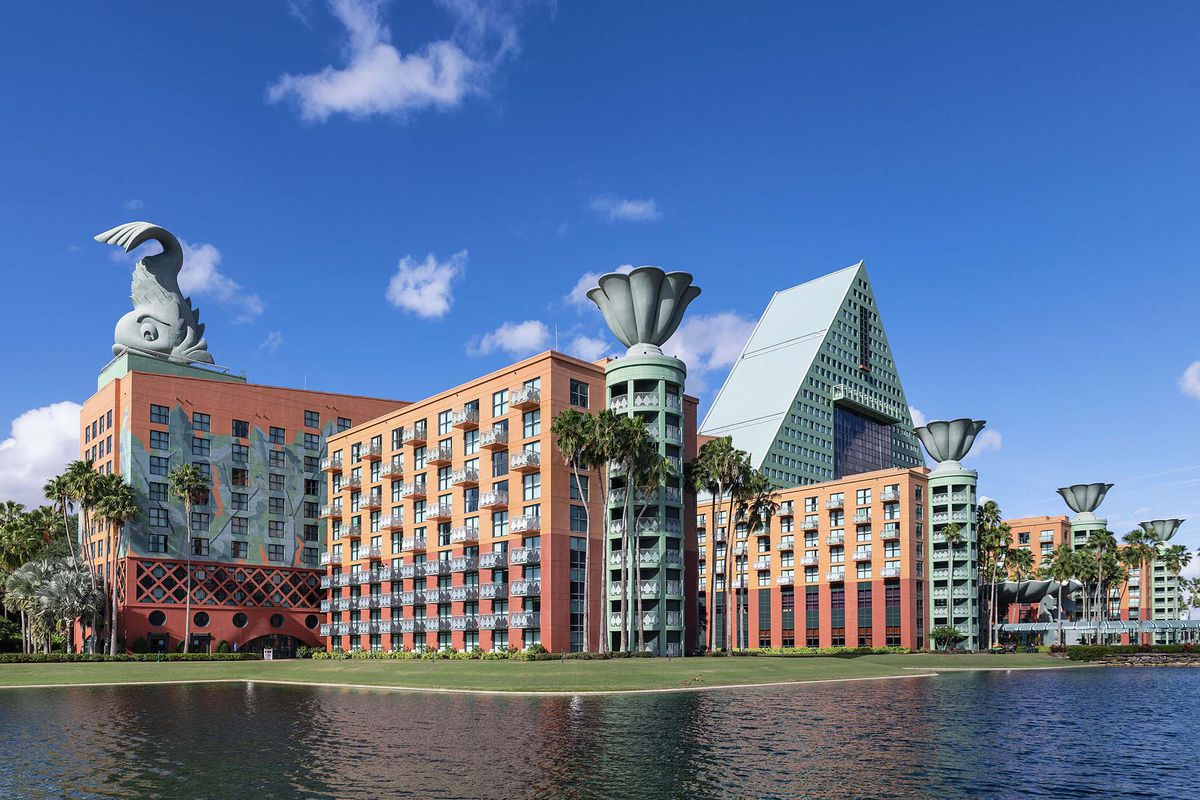 The Dolphin Hotel at Walt Disney World, a building with a giant sculpture of a dolphin on the roof