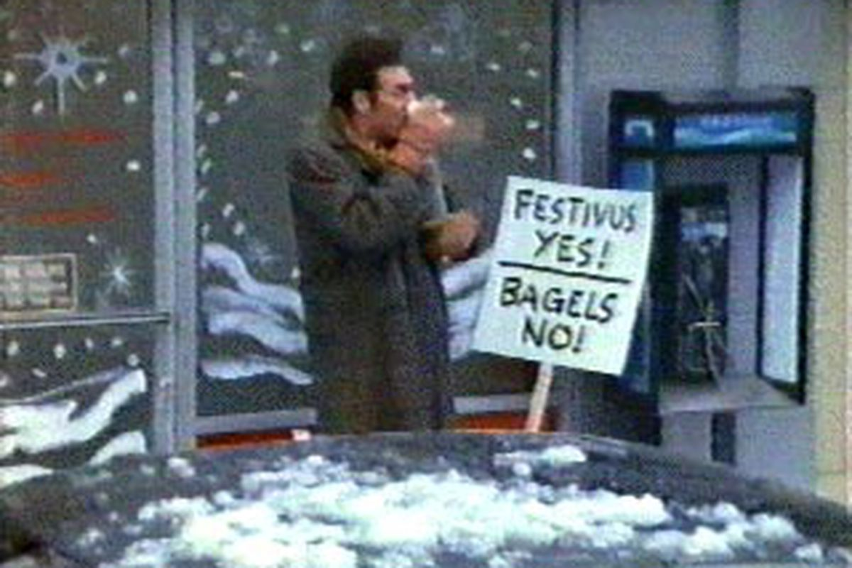 """Cosmo Kramer fights for his right to celebrate new holidays (and party i guess). via <a href=""""http://www.festivusweb.com/images/festivus-yes-bagels-no.jpg"""">www.festivusweb.com</a>"""