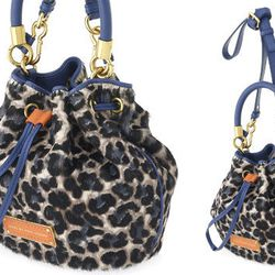 """<b>Marc by Marc Jacobs</b> Too Hot To Handle Drawstring Bag in Royal Purple Multi, <a href=""""http://www.marcjacobs.com/marc-by-marc-jacobs/womens/bags-and-wallets/m0001351/too-hot-to-handle-leopard-little-drawstring?sort="""">$528</a>"""