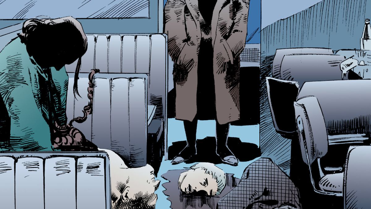 Doctor Destiny, crazy-haired and naked except for a trenchcoat, stands over a diner full of people he has mind controlled into slaughtering each other over 24 hours, in The Sandman #6, DC Comics (1989).