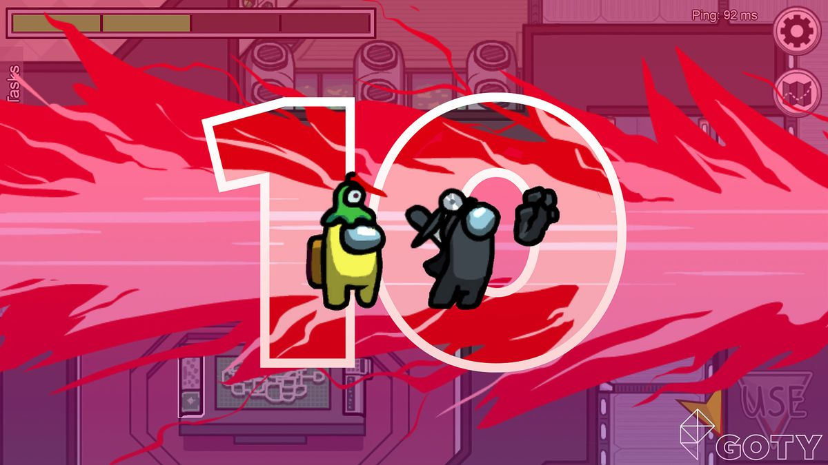 """Screen from the """"Amount Us"""" video game with the number 10"""