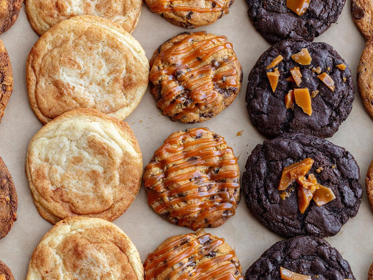 Rows of different cookies