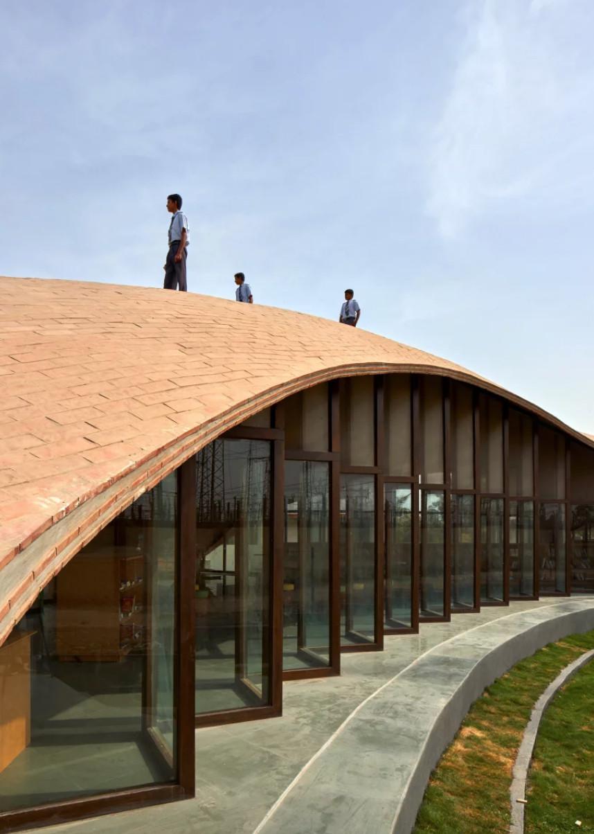 People walking on roof of building