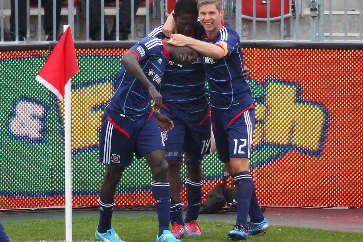 <em>Chicago celebrating their goal against Toronto. It might be considered crass though, almost like kicking an injured puppy. </em>
