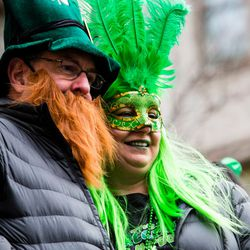 Costumed revelers come out to see the Plumber's Local Union 130 dye the Chicago River green in celebration of St. Patrick's Day, Saturday, March 17th, 2018. | James Foster/For the Sun-Times