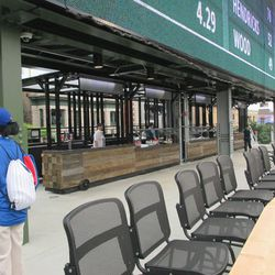 6:09 p.m. The concession area, under the right-field video board, for the new right-field patio -