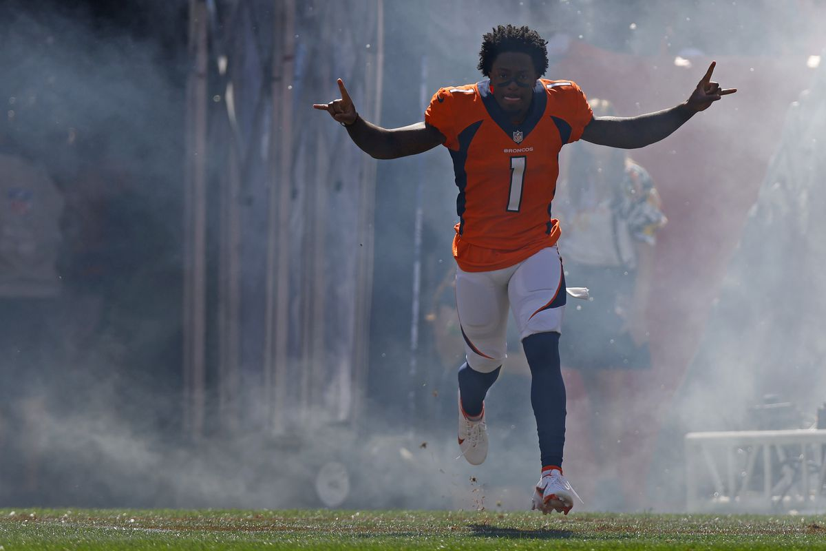 KJ Hamler #1 of the Denver Broncos runs onto the field before the game against the New York Jets at Empower Field At Mile High on September 26, 2021 in Denver, Colorado.