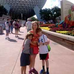 Jessica Daitch with Ivy, 9, and Logan, 11, at Epcot Center.
