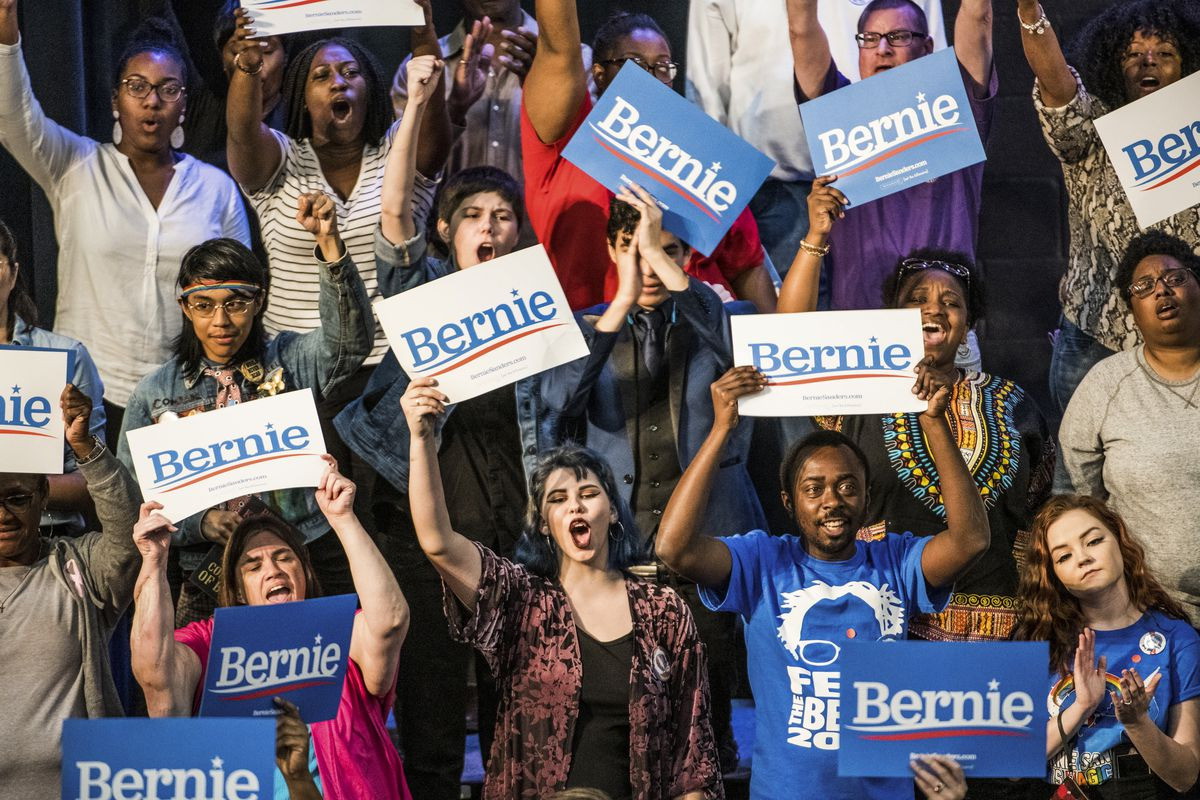 Supporters for Sen. Bernie Sanders (I-VT) cheer in as he addresses the crowd at the Royal Family Life Center in North Charleston, South Carolina, in this March 2019 photo.