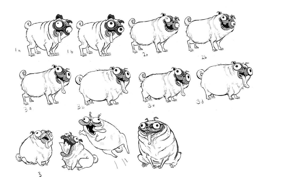 A series of development sketches for Monchi, the pug, mostly standing, with different levels of lolling tongue, missing teeth and hidden eyes