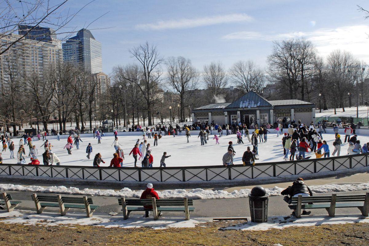 Massachusetts, Boston, Ice Skating At The Frog Pond.