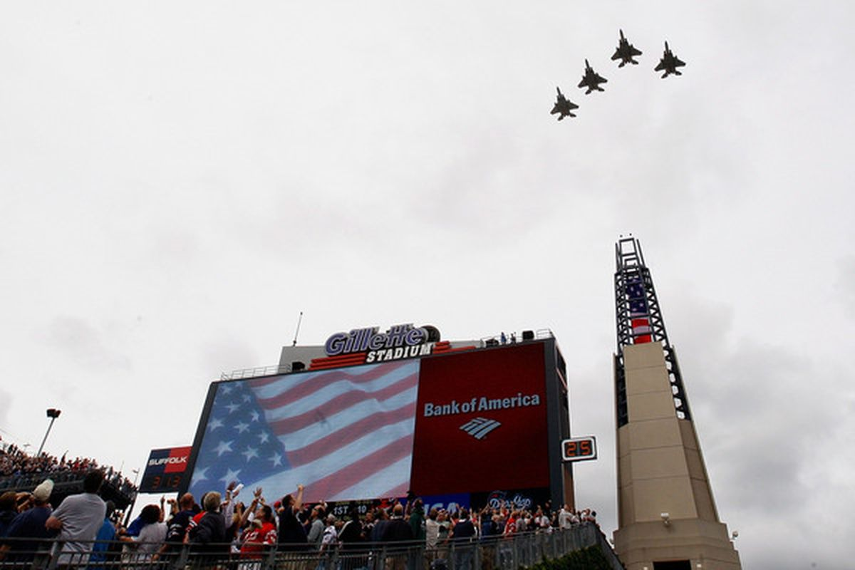 FOXBORO MA - SEPTEMBER 12:  Jets fly over the football field before a game between he New England Patriots and the Cincinnati Bengals at Gillette Stadium on September 12 2010 in Foxboro Massachusetts. (Photo by Jim Rogash/Getty Images)