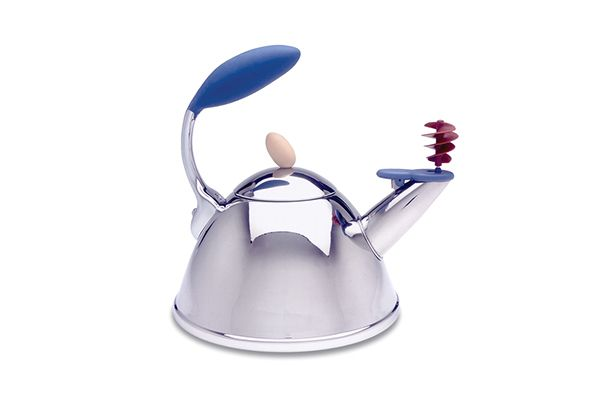 A spinning-whistle tea kettle designed by Michael Graves for Target.