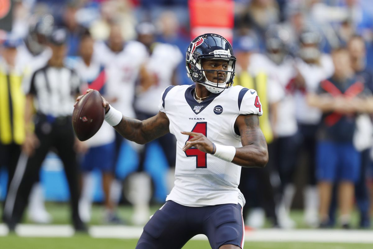 Houston Texans quarterback Deshaun Watson throws a pass against the Indianapolis Colts during the fourth quarter at Lucas Oil Stadium.