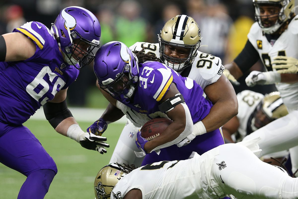 New Orleans Saints defensive tackle Shy Tuttle tackles Minnesota Vikings running back Dalvin Cook during the first quarter of a NFC Wild Card playoff football game at the Mercedes-Benz Superdome.