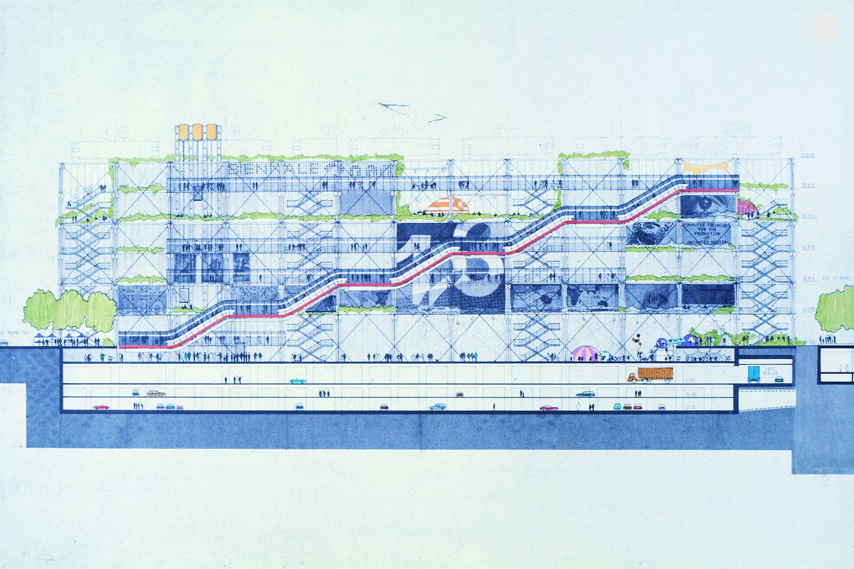 Early sketch of the Centre Pompidou