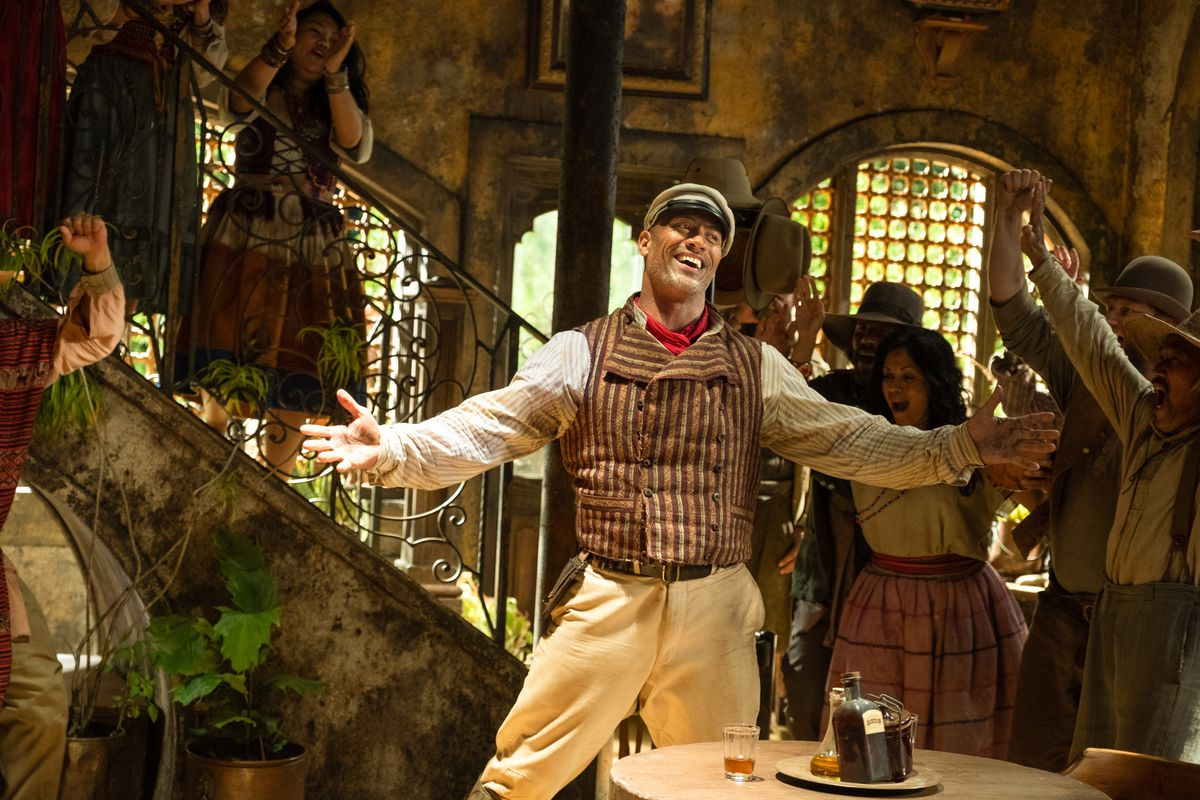Dwayne Johnson as the boat captain Frank Wolff in Jungle Cruise