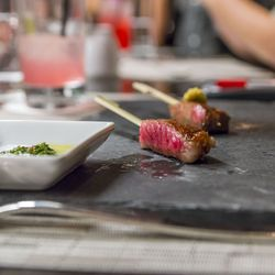 Japanese A5 Wagyu Strip Steak with Chimichurri and Fresh Grated Wasabi with Housemade Soy