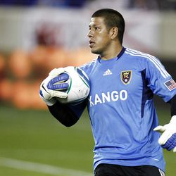 HARRISON, NJ - SEPTEMBER 21: Nick Rimando #18 of Real Salt Lake looks to pass the ball against New York Red Bulls during their game at Red Bull Arena on September 21, 2011 in Harrison, New Jersey.  (Photo by Jeff Zelevansky/Getty Images)