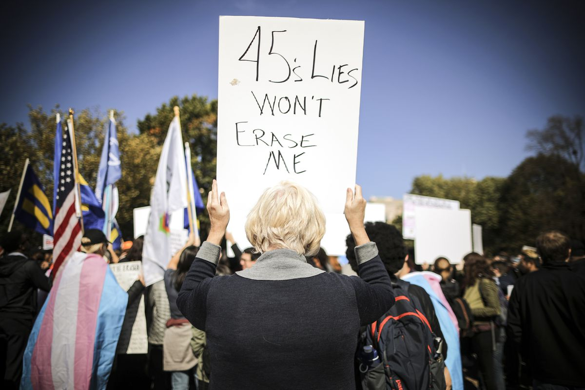 LGBT activists hold a 'We Will Not Be Erased' rally in front of the White House, on October 22, 2018.