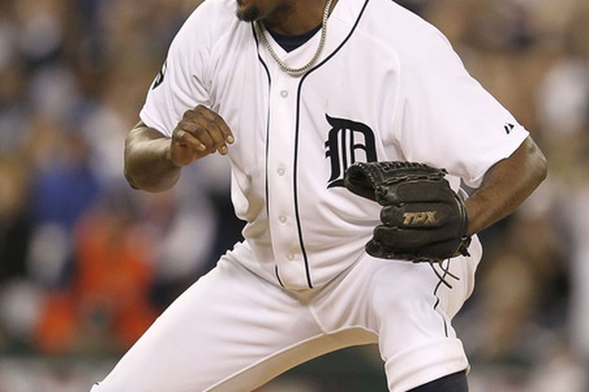 DETROIT - OCTOBER 03: Jose Valverde #46 of the Detroit Tigers reacts in the ninth inning as the Tigers defeated the Yankees 5-4 at Comerica Park on October 3, 2011 in Detroit, Michigan.  (Photo by Leon Halip/Getty Images)