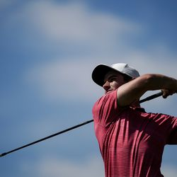 Ryan Ruffels takes a tee shot during round three of the Korn Ferry Tour's Utah Championship at Oakridge Country Club in Farmington on Saturday, June 27, 2020. Ruffels ended the round tied for third.