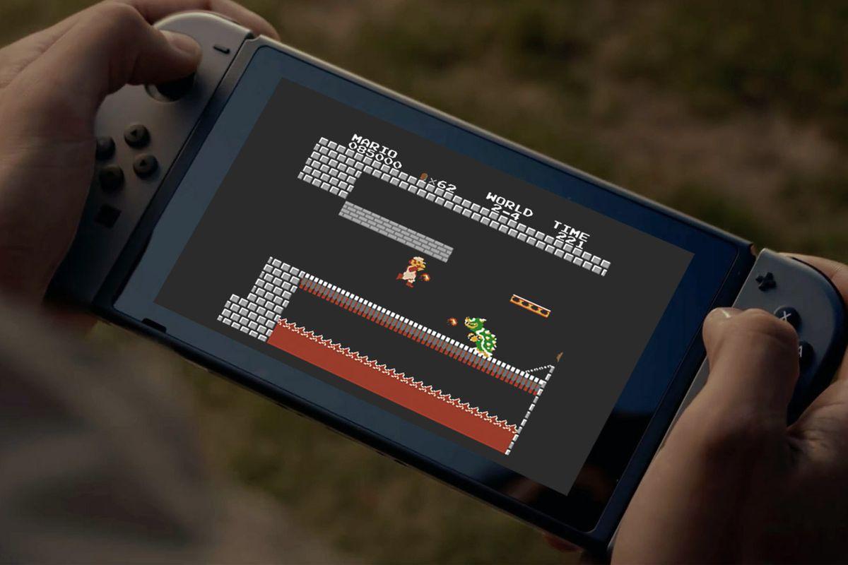 playing Super Mario Bros. on Nintendo Switch