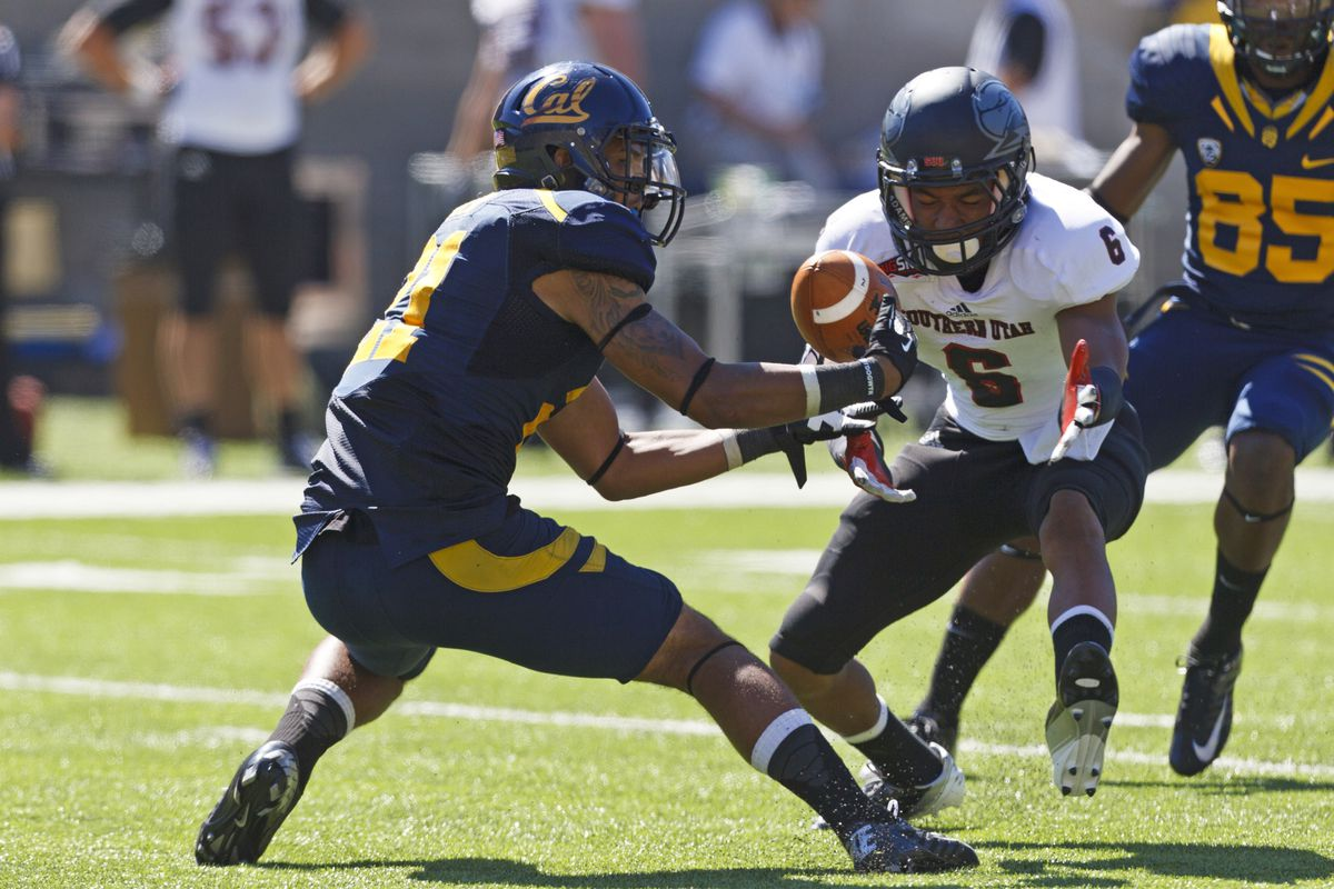 BERKELEY, CA - SEPTEMBER 08: Wide receiver Keenan Allen #21 of the California Golden Bears fields a punt in front of defensive back Tyree Mills #6 of the Southern Utah Thunderbirds during the fourth quarter at Memorial Coliseum on September 8, 2012 i