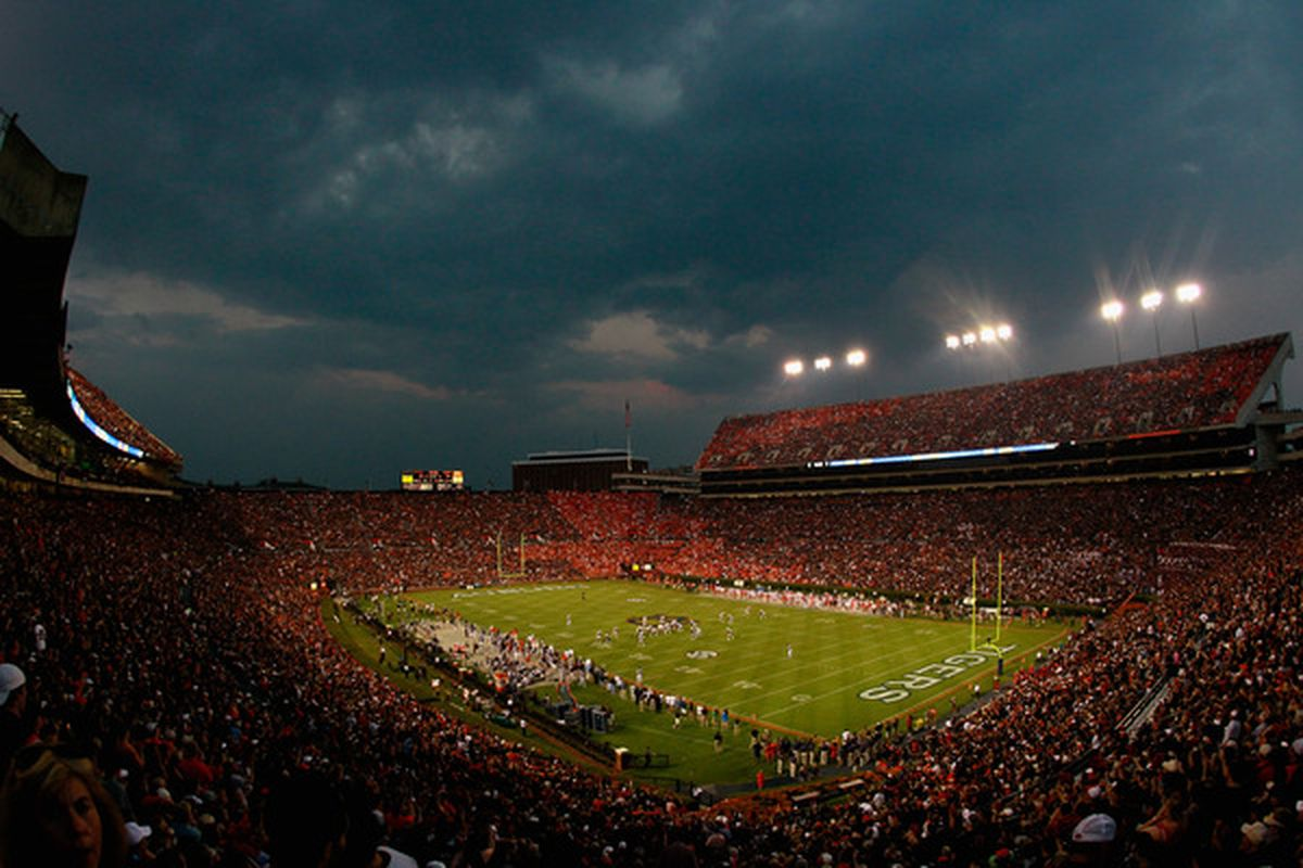 AUBURN AL - SEPTEMBER 18:  A general view of Jordan-Hare Stadium during the game between the Auburn Tigers and the Clemson Tigers at Jordan-Hare Stadium on September 18 2010 in Auburn Alabama.  (Photo by Kevin C. Cox/Getty Images)