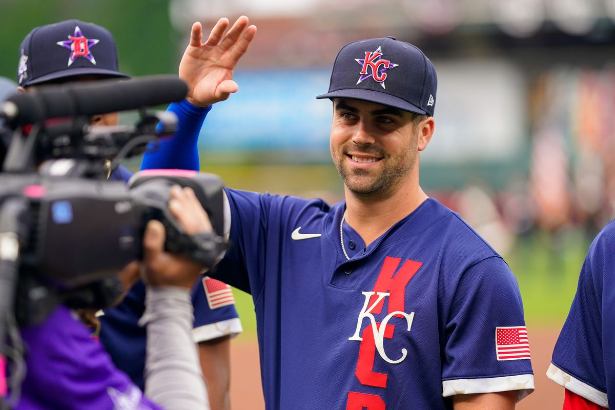 American League All-Star Whit Merrifield #15 of the Kansas City Royals waves during player introductions for the 91st MLB All-Star Game presented by Mastercard at Coors Field on July 13, 2021 in Denver, Colorado.