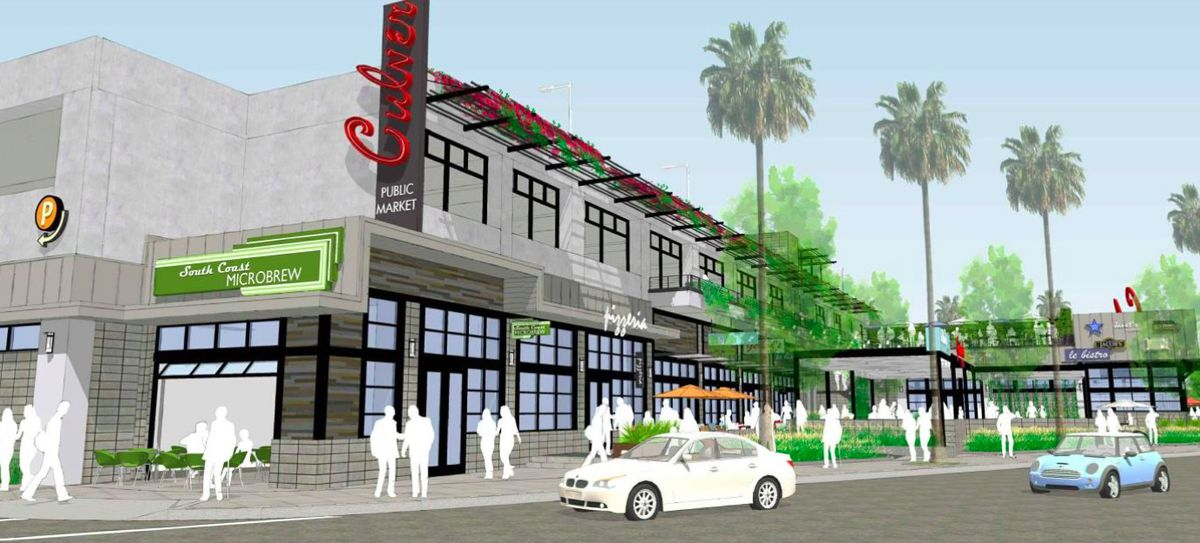 Rendering of Culver City food hall with microbrew signs