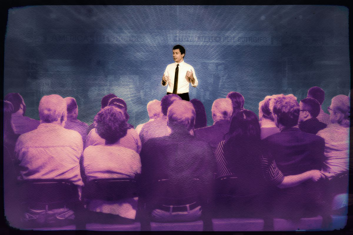 A photo illustration of a town hall meeting featuring South Bend, Indiana, mayor Pete Buttigieg