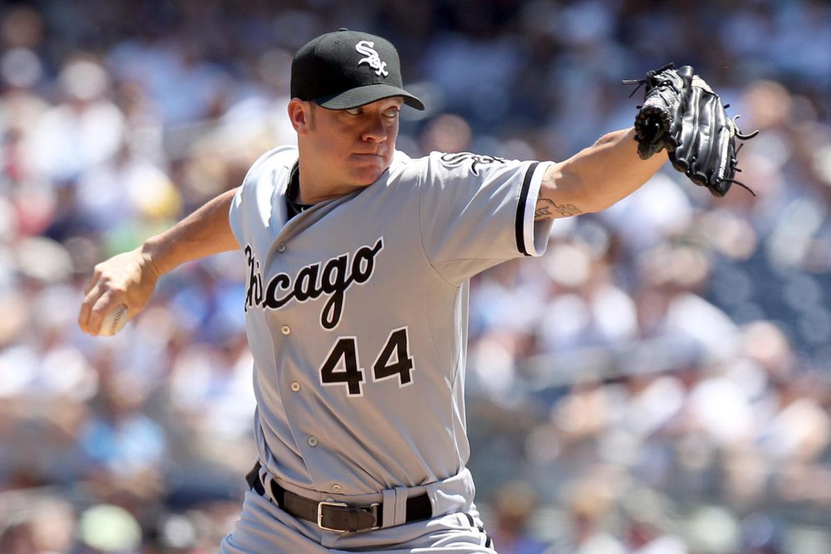 June 30, 2012; Bronx, NY, USA; Chicago White Sox pitcher Jake Peavy (44) throws a pitch during the first inning of a game against the New York Yankees at Yankee Stadium. Mandatory Credit: Brad Penner-US PRESSWIRE