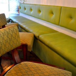 The green chairs were discovered in a warehouse and became the first design element for Eat.