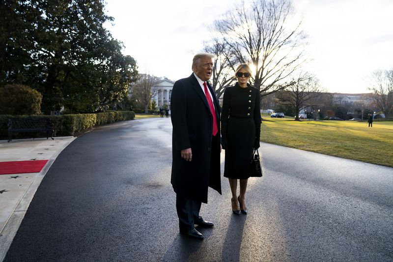 President Donald Trump and first lady Melania Trump prepare to depart the White House on January 20, 2021, in Washington, DC.