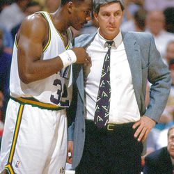 Karl Malone and Coach Jerry Sloan.